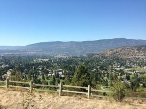 view of the Okanagan valley from hiking trails in Kelowna, an activity that's easily accessible from The Shore, a cabin rental alternative